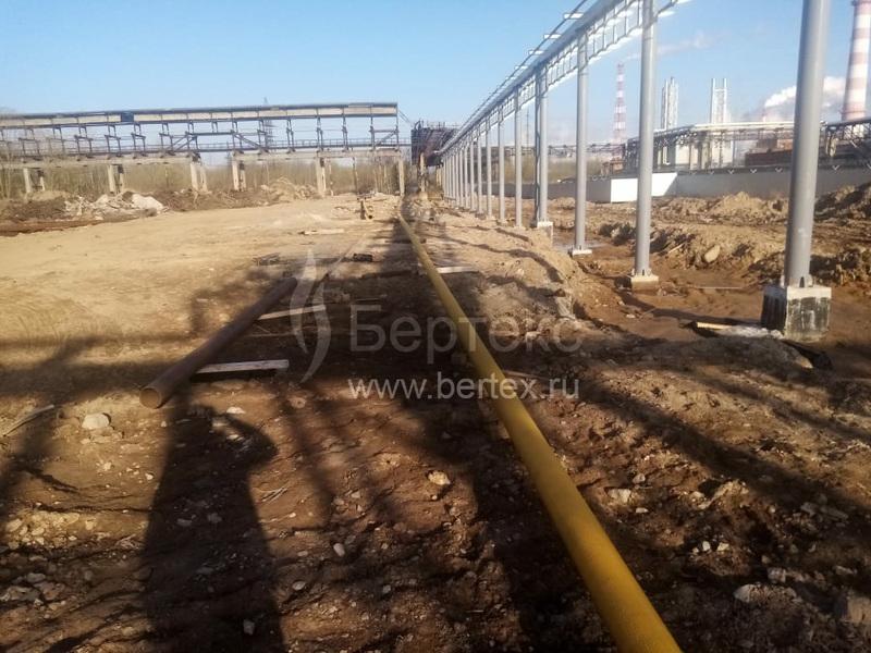 Монтаж газопровода на заводе Полипласт Северо-запад, г. Кингисепп